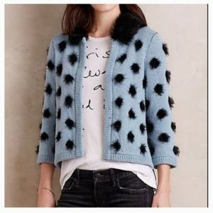 S MOTH Anthropologie Blue Black Dotted Furry Cardi